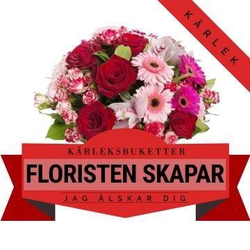 Romantisk bukett i varma färger - låt floristen skapa!